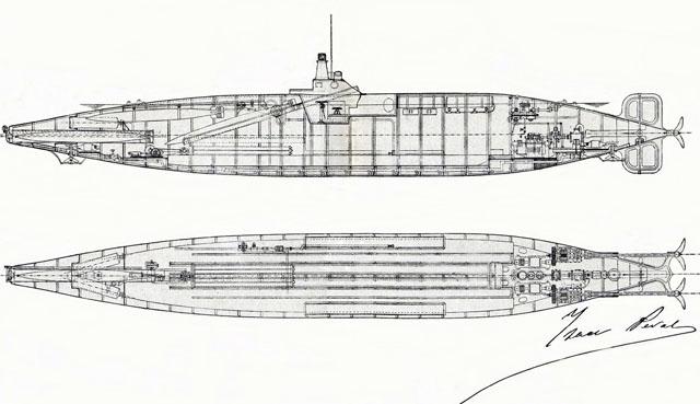 Plano de disposición general del submarino. | Imagen cedida por Javier Sanmateo
