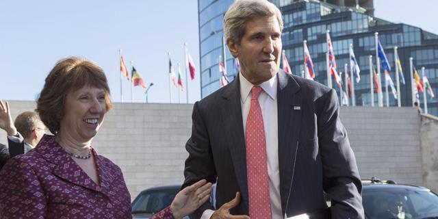 La jefa de la diplomacia comunitaria, Catherine Ashton, junto a John Kerry en Vilna. | Efe