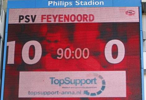El videomacador del estadio Phillips de Eindhoven en el minuto 90. (Telegraaf)