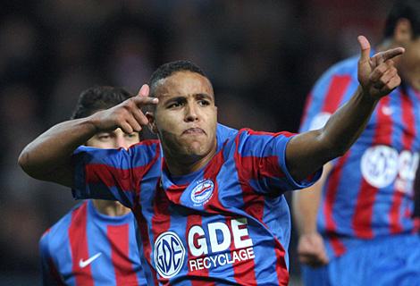 Youssef El-Arabi celebra un gol al Nancy, el pasado 30 de octubre. (Afp)