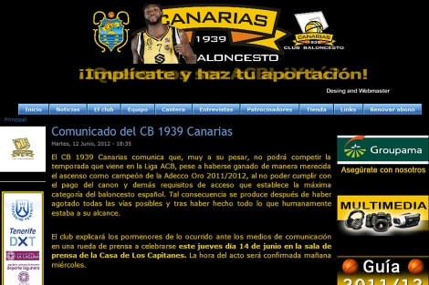 Imagen del comunicado del CB Canarias.