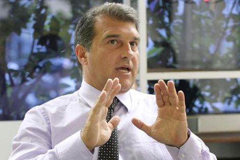 Joan Laporta, durante la entrevista con la Efe.