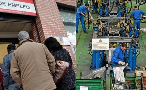 Imágenes de la cola del paro y una cadena de montaje industrial. | Foto: El Mundo
