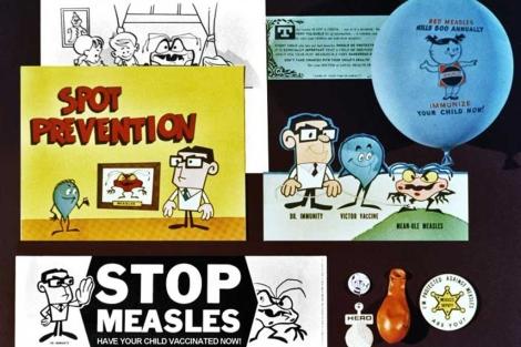 Campaña de los años 60 que ya promueve la vacuna contra el sarampión.  CDC