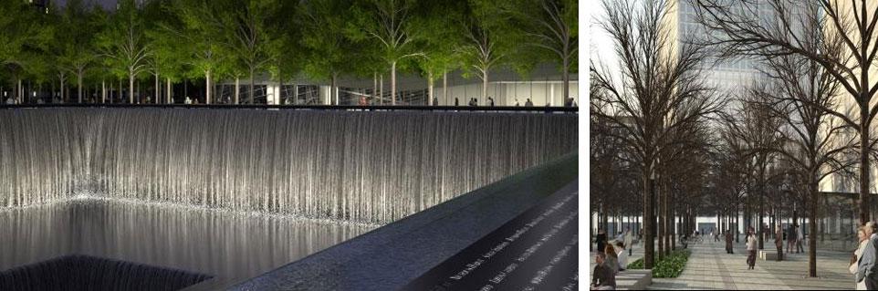 Recreación de las fuentes, la Torre de la Libertad y el bosque urbano. | www.911memorial.org