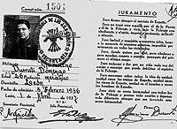 Carné de miembro de Falange Española de las JONS de Marciano Durruti.