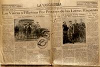 Recibidos con honores. Periódico filipino 'La Vanguardia' del 18 de febrero de 1933, en el que se cuenta la llegada de los viajeros.