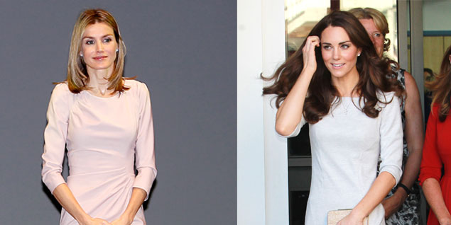 Letizia y Kate con dos vestidos prácticamente iguales. (Fotos: Gtresonline)