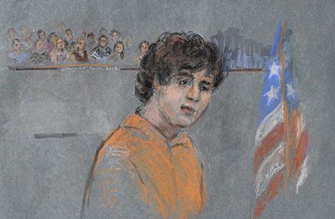 Representación artística de Tsarnáev en el juicio.