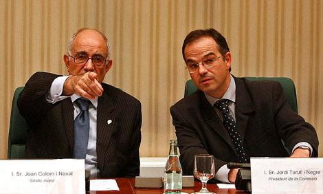 El síndic mayor, Joan Colom, y el diputado de CiU Jordi Turull. | Quique García