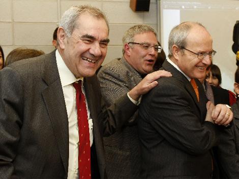 Maragall y Montilla, tras sellar en falso la crisis abierta por el conseller.| A. Moreno